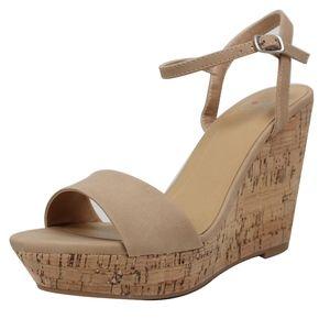 Shoes - Natural Open Toe Ankle Strap Cork Platform Wedge